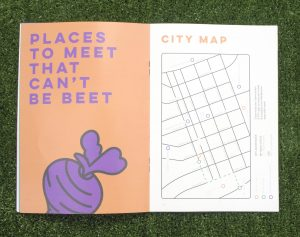 Places to meet that can't be beet, is the title with a beet. The other side is a map of Melbourne, focusing on BP buildings.