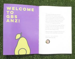 "On the left is says ""Welcome to GBS ANZ!"" on a purple background with a pear underneath. On the right it's a letter from the head of BP."