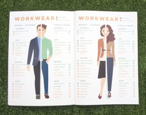 The title is Workwear and on the left it describes what men can wear as well as showing a male infograph showing an example. The right side shows what a woman can wear.