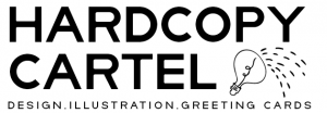 "Hardcopy Cartel logo that says ""Design, illustration and greeting cards"" followed by the symbol of a lightbulb symbolically pouring out ideas."