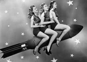 Women on a rocket to represent making your brand heard. We are the creative for creatives.
