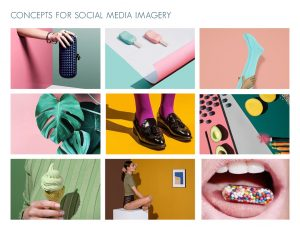 The concept board for social media used by bundys. It uses pop design photography with bold shadows and colours.