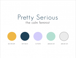 ARC color palette that shows a golden yellow, a rich deep blue, a lavender purple, a mint green and a light grey.